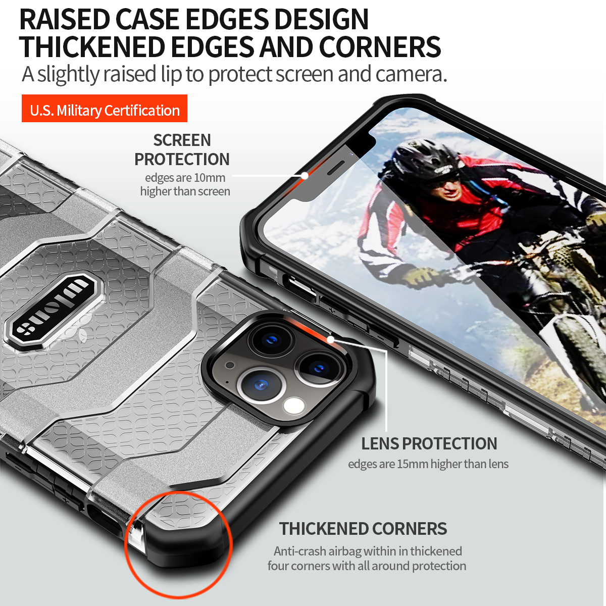 Military Rugged Armor Heavy Duty 360° Camera Protection Case for iPhone 12 Mini