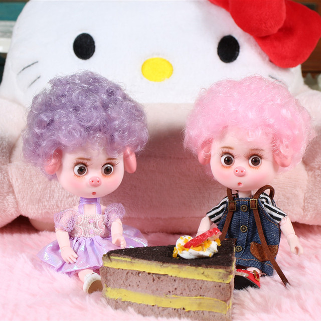 1/12 BJD 26 Siamese 15CM Mini Doll Lucky Pig ob11 Doll with Equipment Shoes Makeup Set Gift Toy