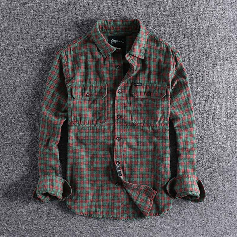 2019 Autumn New Ground Young Plaid Long-sleeved Foreign Trade Single Men's Casual Shirt Plus Size High Quality Blouse For Sale L
