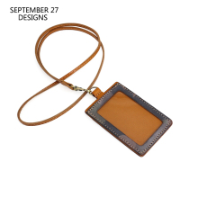 New Fashion Office Badge Holder Genuine Leather Camouflage Color Neck Lanyard Identity Card Holders Vintage Tag Vertical Style