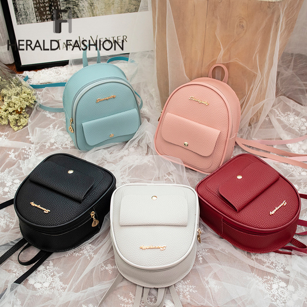 Herald Fashion Mini Women Backpack Quality Leather Shoulder Bag For Teenage Girl Multi-Function Small Bagpack Female Phone Pouch