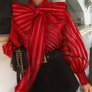 Striped Blouse Shirts Tops Bow Sheer-Mesh Long-Puff Ol-Work Female Formal Elegant See-Through