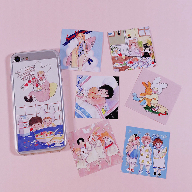 Love Angel Postcard Handmade Sticker Hand Phone Mobile Decoration Pendulum Small Cute Card Stickers Scrapbooking