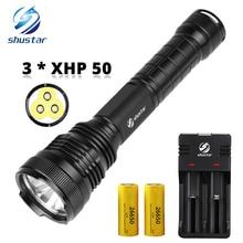 3 x XHP50 Mạnh Đèn Pin LED LED Chống Thấm Nước Đèn Pin chống Cháy Nổ hợp kim nhôm Cho ngoài trời ánh sáng chuyên nghiệp
