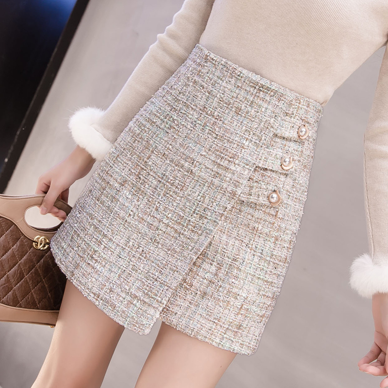 Fall Winter Button Front wool Tweed mini wrap skirts womens 2021 black Thick short high waisted a line Skirts miniskirt C214