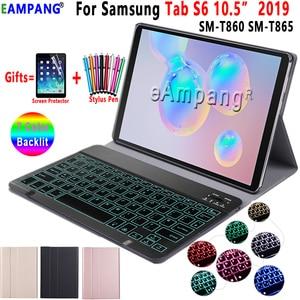 Image 1 - Arkadan aydınlatmalı klavye kılıf Samsung Galaxy Tab için S6 10.5 kılıf T860 T865 SM T860 kapak çıkarılabilir Bluetooth klavye deri Funda