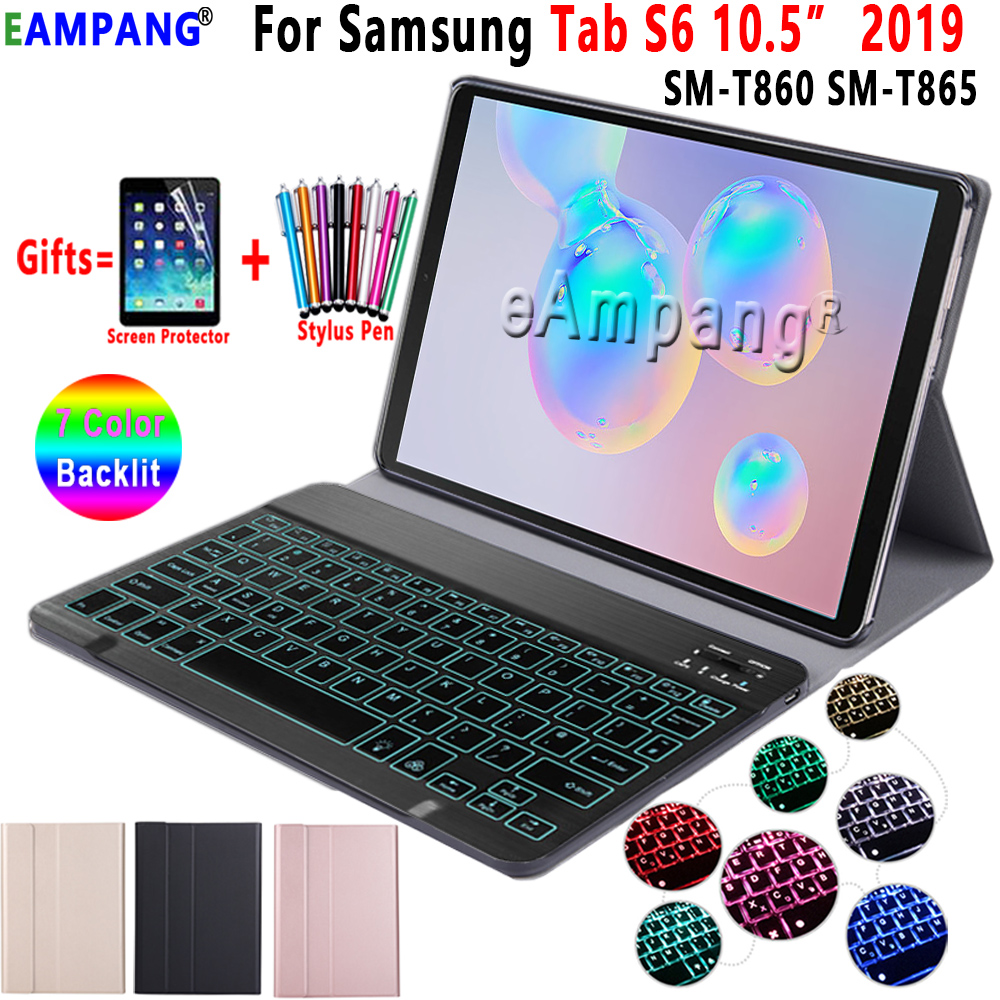 Backlit Keyboard Case For Samsung Galaxy Tab S6 10.5 Case T860 T865 SM-T860 Cover Removable Bluetooth Keyboard Leather Funda
