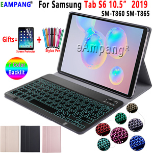 Image 1 - Backlit Keyboard Case for Samsung Galaxy Tab S6 10.5 Case T860 T865 SM T860 Cover Removable Bluetooth Keyboard Leather Funda