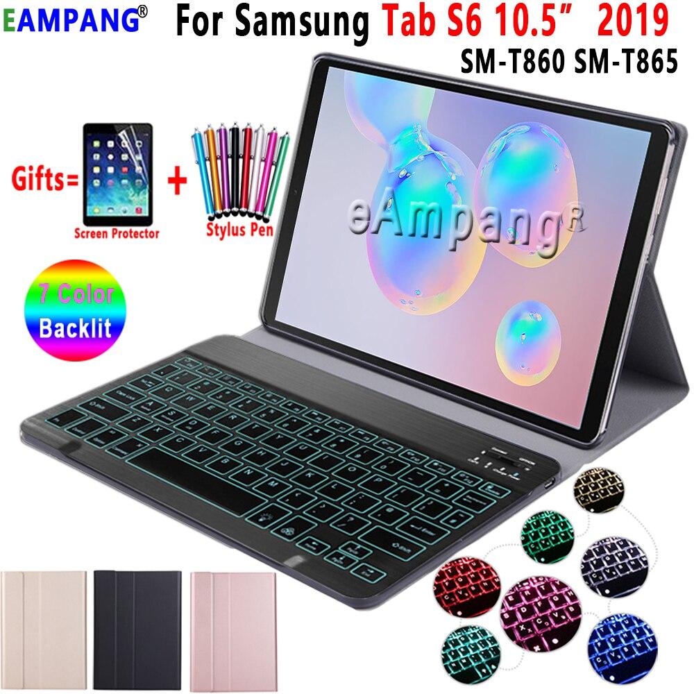 Clavier rétro-éclairé étui pour samsung Galaxy Tab S6 10.5 étui T860 T865 housse de SM-T860 amovible clavier Bluetooth en cuir Funda