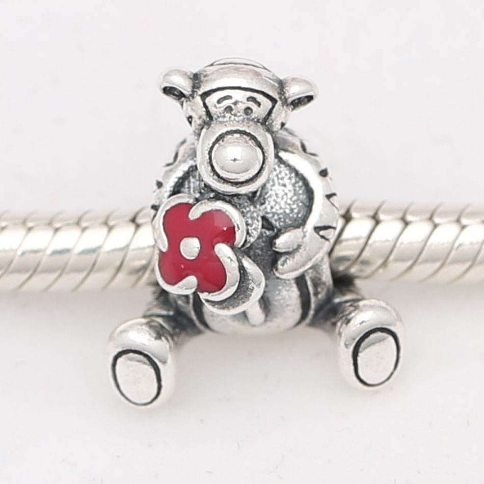 Authentic S925 Sterling Silver Bead DIY Jewelry Cute Tiger Charms fit Pandora Bracelet Bangle Lady Birthday Gift Animal Charm(China)