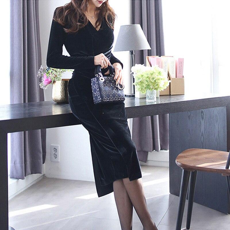 BacklakeGirls Velour Sexy Cocktail Dresses Straight V Neck Long Sleeve Long Black Formal Gowns For Party Robe De Coktail