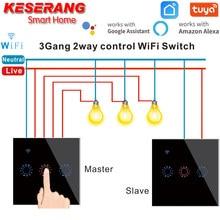 Tuya/ewelink app controle 2 pces padrão da ue painel de cristal de vidro de luxo 1-2-3 gang 2 vias interruptor de toque de parede de luz wifi à prova dwaterproof água