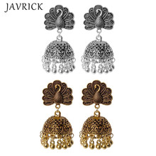 Boho Vintage Peacock Jhumka Indian Ethnic Bollywood Gypsy Tribal Dangle Earrings