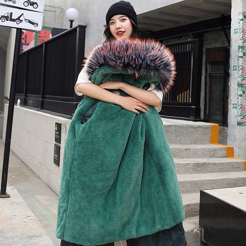 Faux Fur Parka Coats Winter Jacket Women Wool Liner Long Coat Female Large Fur Hooded Outwear Warm Parkas Hiver Nyxyg-918