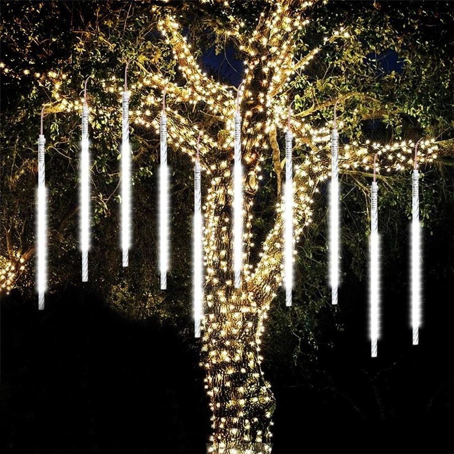 BEIAIDI 8 Rohr Meteor Dusche Regen LED String Licht 30cm 50cm Fallen Regen Drop Eiszapfen Weihnachten Baum Hochzeit fee Licht Girlande