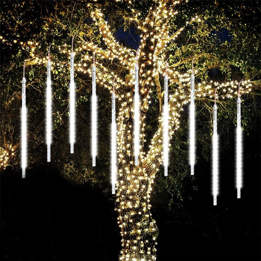 BEIAIDI 8 Tube Meteor Shower Rain LED String Light 30cm 50cm Falling Rain Drop Icicle Christmas Tree Wedding Fairy Light Garland