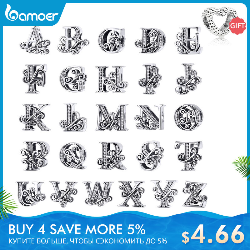 BAMOER 2019 NEW 925 Sterling Silver Vintage A to Z Clear CZ 26 Letter Alphabe Bead Charms Fit Bracelets DIY Jewelry BSC030(China)