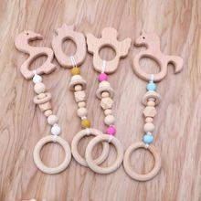 Wooden Rattles-Toys Montessori Chew Beads Play Gym Baby Cartoon-Animal Nursing 8-Styles