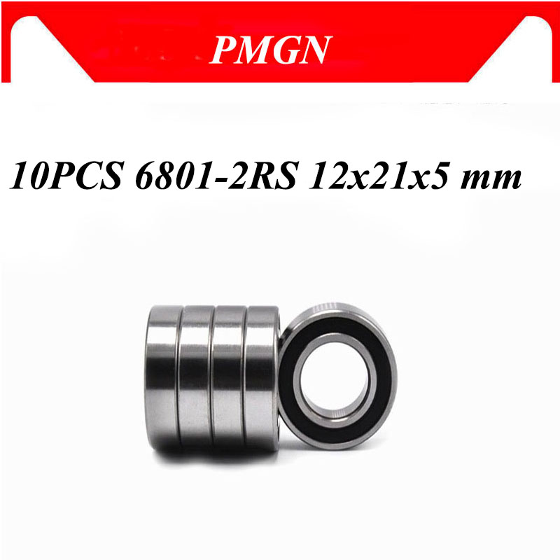 6801 10PCS ABEC-5 ABEC-3 ABEC-1 6801-2RS 6801RS 6801 2RS RS 12x21x5 mm Thin Wall Rubber seal Deep Gr