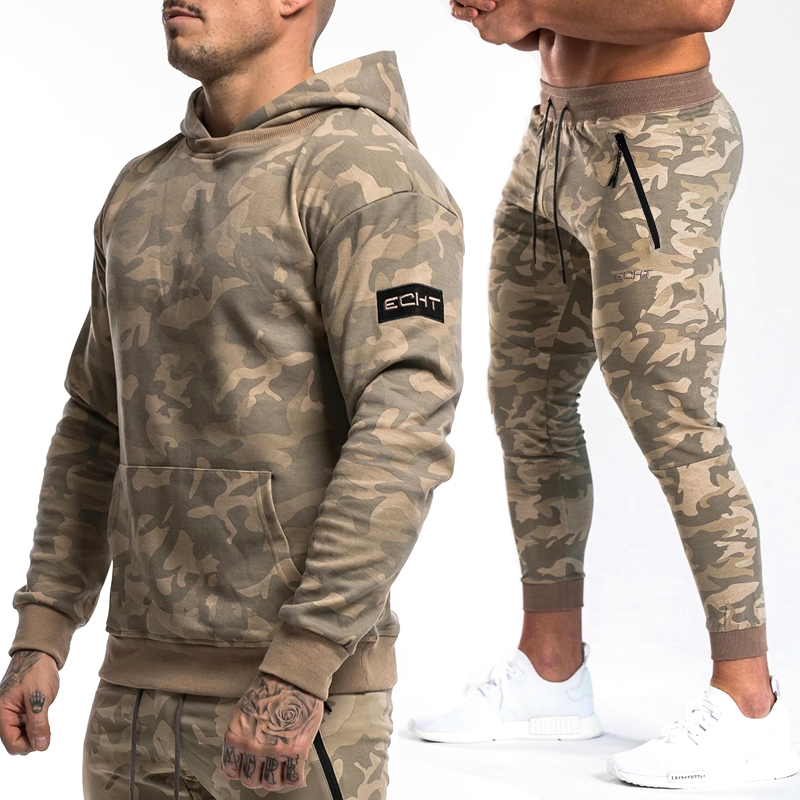 Mens Brand Sportwear 2019 Autumn Winter Gyms Tracksuit Sporting Suit Male Camo Swestshirt + Joggers Sets Men Fitness Full Sets