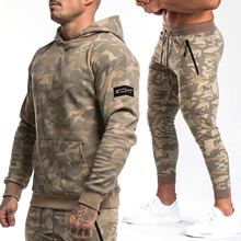 Mens brand Sportwear 2019 Autumn Winter Gyms Tracksuit Sporting Suit Male Camo Swestshirt + Joggers Sets Men Fitness Full