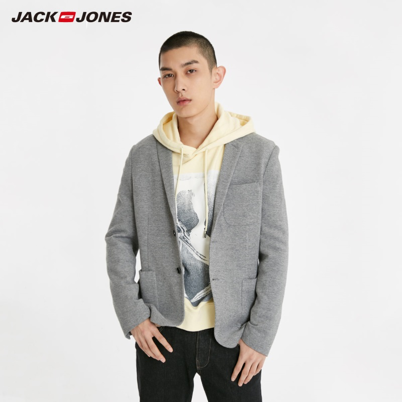 JackJones Men's Slim Fit Two-button 100% Cotton Blazer Basic Style Suit Jacket Menswear 219108509