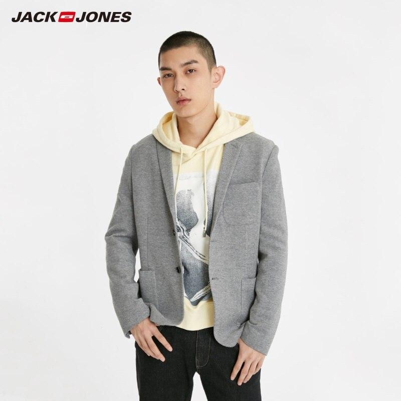 JackJones Men's Slim Fit Two-button 100% Cotton Blazer Basic Style Suit Jacket Menswear 219108509