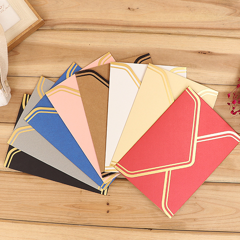10 Pcs/lot Vintage Gold Blank Kraft Paper Envelopes Wedding Party Invitation Envelope Greeting Cards Gift Envelope 17.5*12.5cm