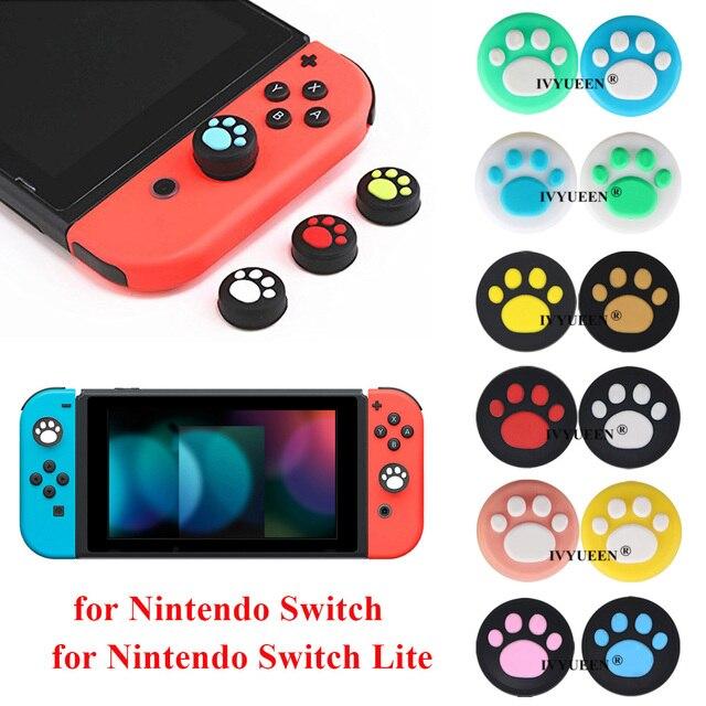 IVYUEEN 4 pcs Silicone Thumb Grips Cover for Nintendo Switch NS Lite Joy Con Analog Stick Caps Skin for JoyCon Joystick Grip