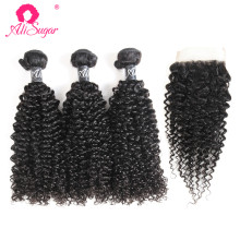 Ali Sugar Hair Brazilian Kinky Curly Raw Virgin Hair 3 Bundles With Closure 100% Unprocessed Human Hair Extensoins Free Shipping(China)