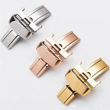 купить 14mm 16mm 18mm Stainless Steel Watch Band Buckle Butterfly Folding Clasp Rose Gold Silver For TISSOT All Series Leather Strap дешево