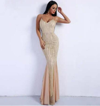 Sexy Style Female Prom Dresses With Backless V-neck Sequin Evening Gowns Floor Length Custom Made Vestidos De Fiesta De Noche