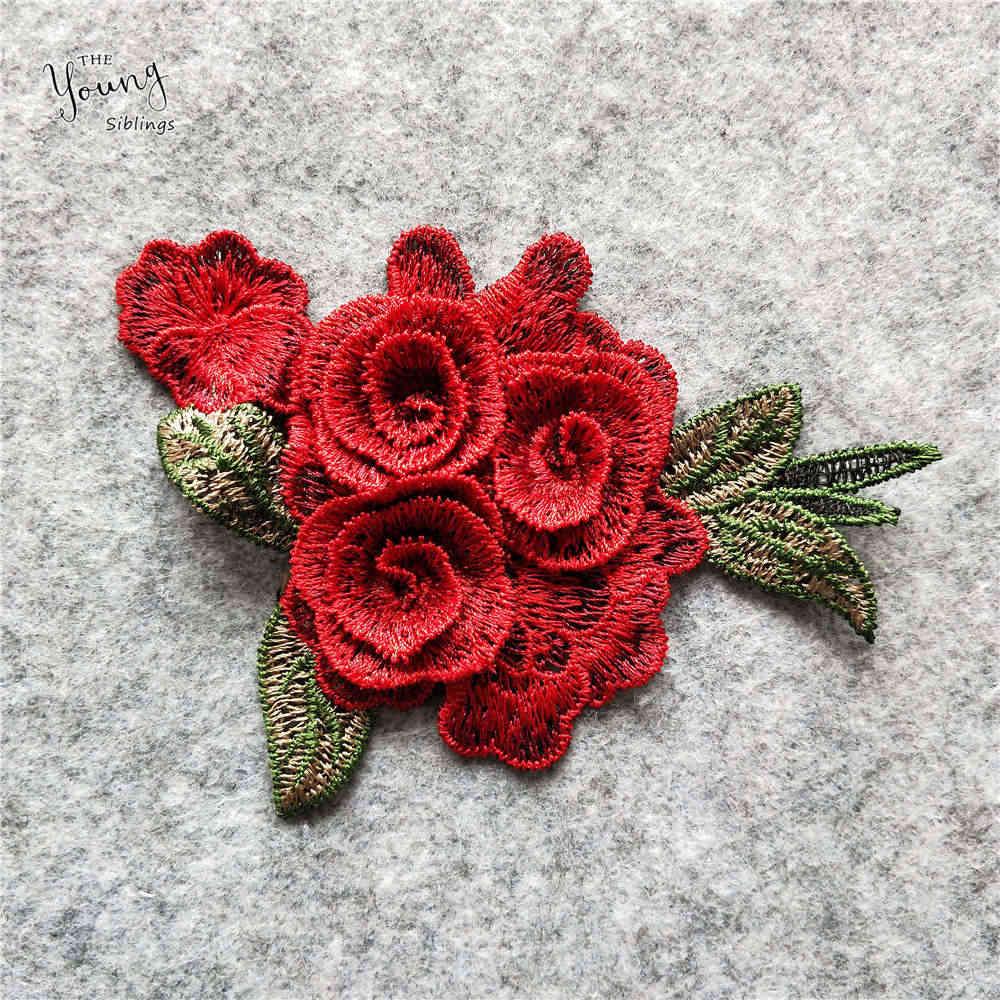 אדום עלה פרח דפוס תחרה צווארון מעולה תפירה רקום בד מחשוף בגדי accessorie DIY אפליקציות 1pcs למכור