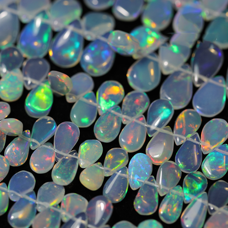 1piece Natural Opal Glossy Pear Shape DIY Semi-Finished Product Whole Perforated Beads Accessories For Jewelry Making