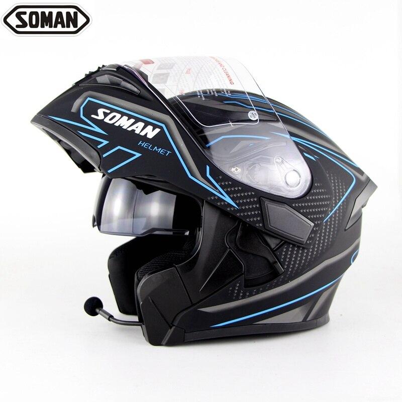 Soman козырек шлем беспроводной Bluetooth анфас мотоциклетные шлемы Bluetooth гарнитура Capacetes флип каск двойной объектив шлем мото