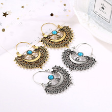 Vintage Ethnic Earrings For Women Antique Silver Gold Color Metal Hollow Flower Tibetan Drop Earring 2019 Brincos Indian Jewelry