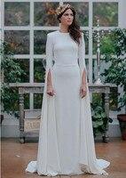Long Sleeve Satin Wedding Dress Scoop Open Back A Line Outdoor Garden Wedding Bridal Gowns lakshmigown