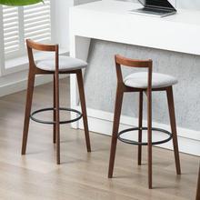 Taburetes de Bar de estilo clásico Americano para mesa frontal o restaurante, taburete de Bar con respaldo para el hogar, taburete de Bar sencillo de madera sólida de estilo nórdico 8000