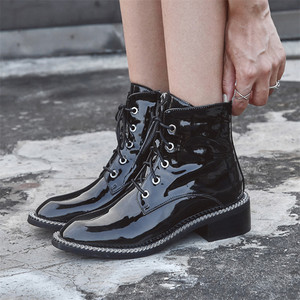 Image 5 - FEDONAS Women Genuine Cow Patent Leather Ankle Boots Winter Short Boots for Women Big Size Riding Boots Night Club Shoes Woman