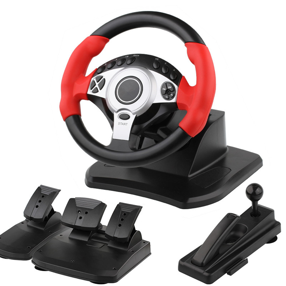900 Degree Racing Steering Wheel Controller Pedal Driving Like Real Computer Learning  Car Simulator Belt Throttle Clutch For PC