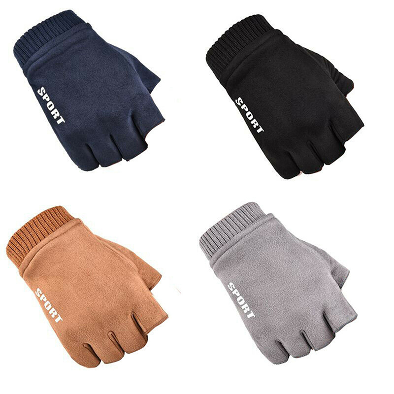 Women Autumn Winter Half Fingers Mittens For Sport Driving Velvet Suede Men Half Finger Gloves Winter Fingerless Cycling Glove
