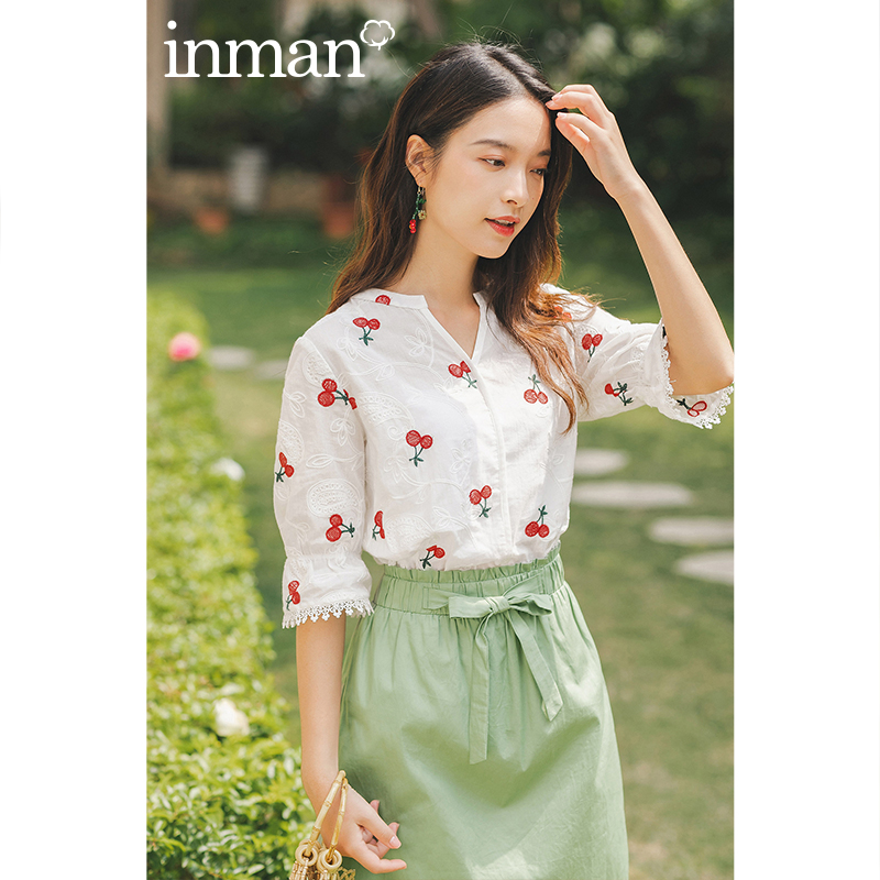 INAMN 2020 Summer New Arrival Cotton Embroidered Splicing Lace V-neck Prairie Chic Short Sleeve Blouse