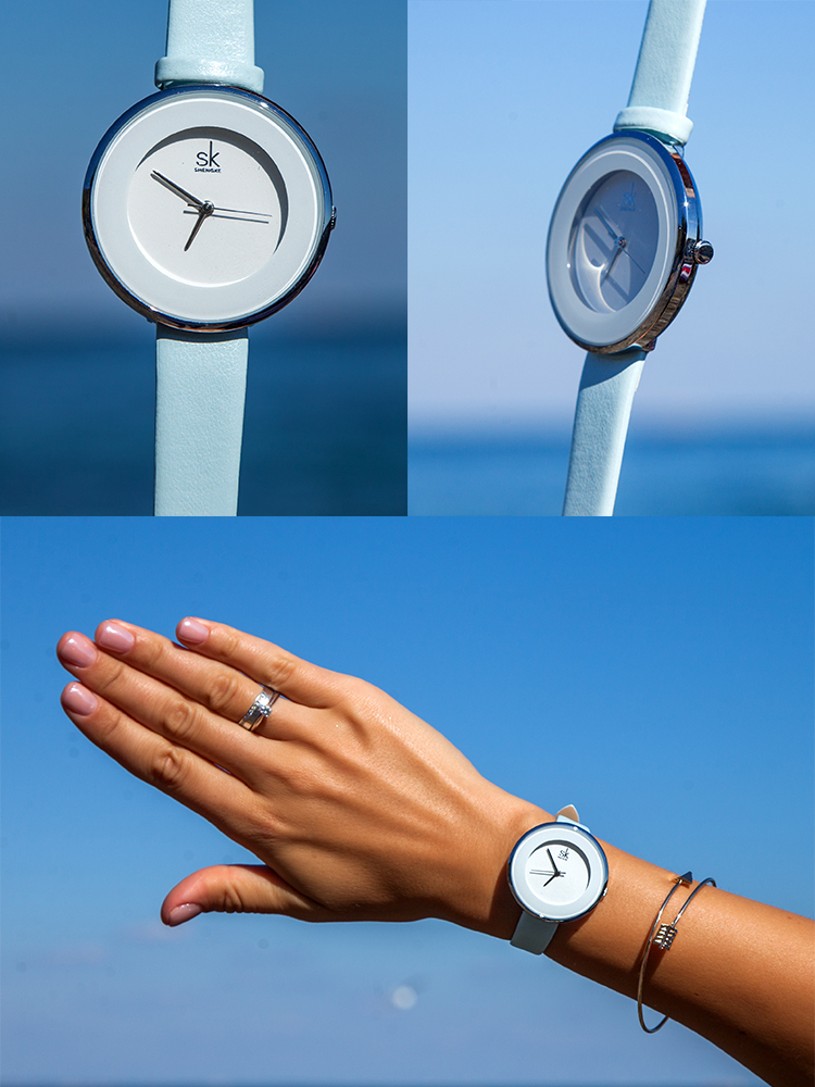 SHENGKE Women Watches Top-Brand Reloj-Mujer Luxury Quartz Dial Simple New Buckle 38-Mm