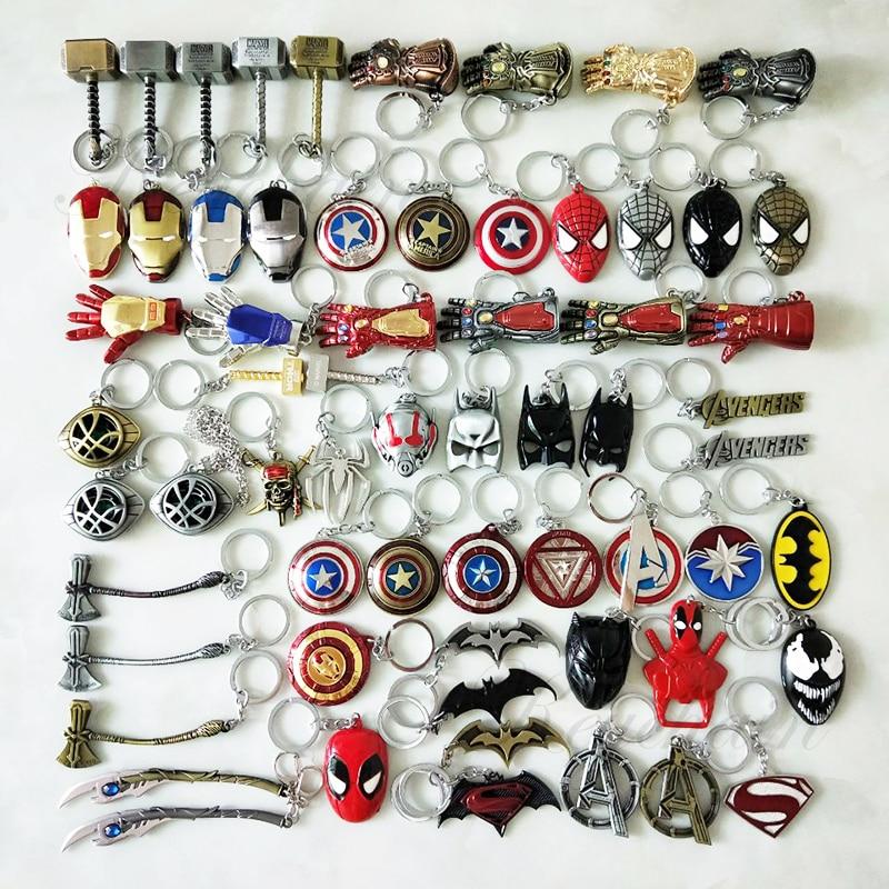 Marvel Avengers 4 Iron Man Mask Thor's Hammer Mjolnir Keychain Captain America Shield Mjolnir Infinity Gloves for Men Women Fans