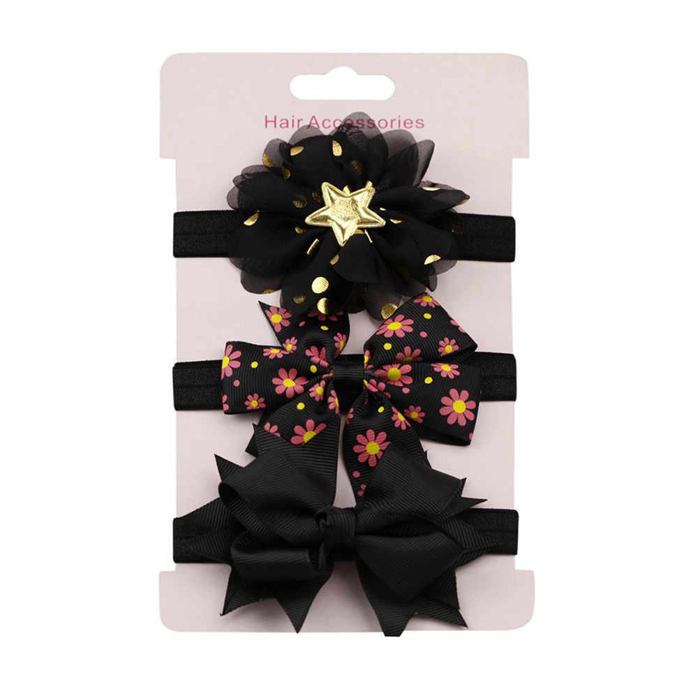 3 stuks Kids Elastische Bloemen Hoofdband Haar Meisjes kindje Strik Haarband Set kawaii Elastische Haar Meisjes Boog Koreaanse Strik Hoofdbanden