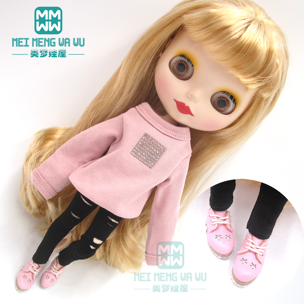 Blyth Doll Clothes Pink Sweatshirt, Hole Pants, Leather Shoes For OB23 OB24  Azone Doll Accessories
