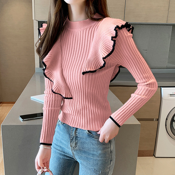 Knitted pullover sweater 2020 Autumn New Korean Style round Neck  Sweater Women's Long Sleeve Woolen Ruffle Slim Sweater 686B bow tie neck ruffle sweater