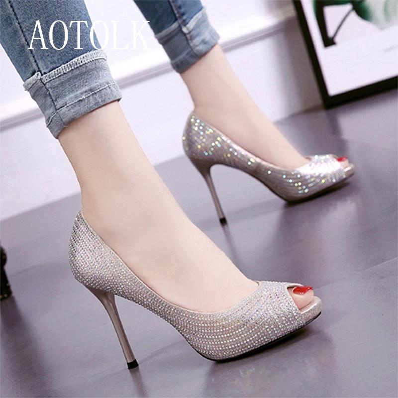 Women Pumps Female High Heel Women Shoes Fashion Peep Toe Female Shoes Slip On Flash Diamond Wedding Shoes Spring Autumn 2019 DE