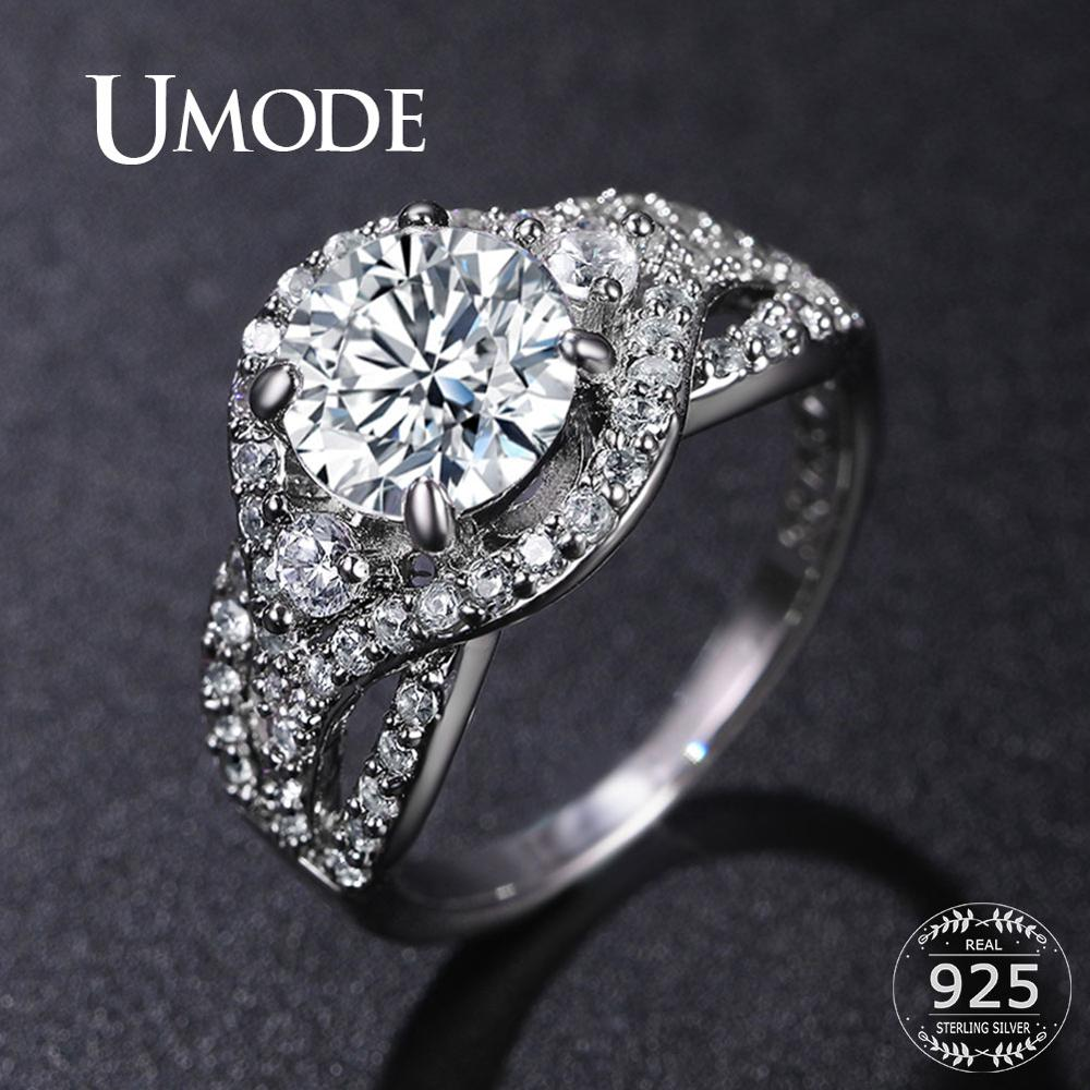 UMODE 925 Sterling Silver Rings CZ Crystal Wedding Rings For Women Girls Engagement Gifts Femme Luxury Crystal Jewelry LR0801