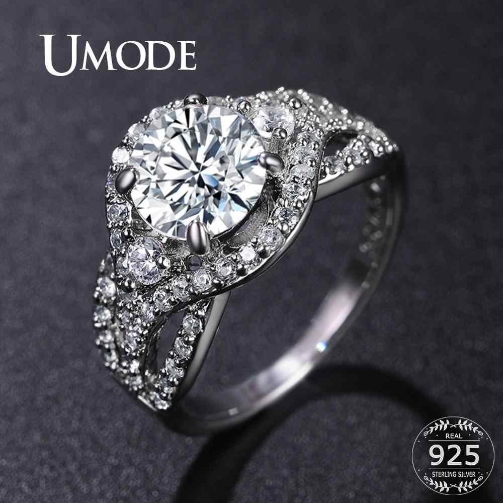 UMODE 925 แหวนเงินสเตอร์ลิง Zircon คริสตัลหมั้นแหวนผู้หญิงผู้หญิงคู่แต่งงานเครื่องประดับของขวัญ Luxury ยี่ห้อ LR0801